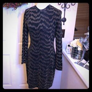 New Boston Proper Black & Gold Glittery Midi Dress